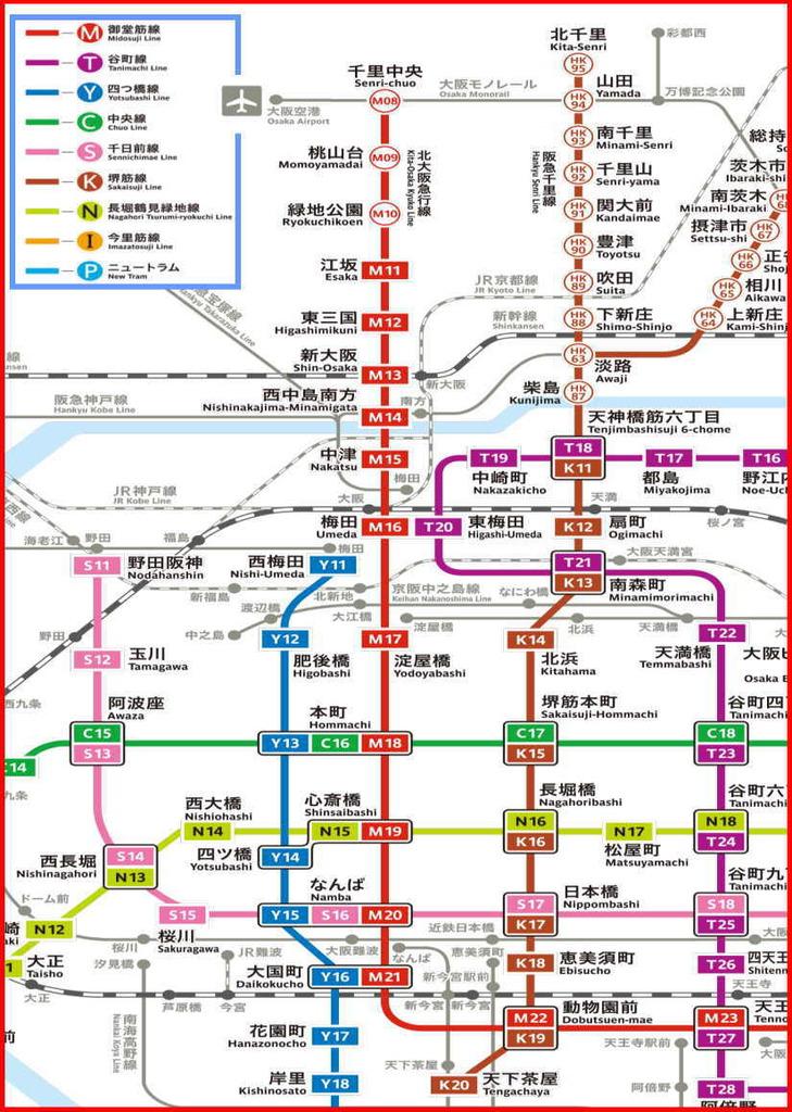 大阪メトロ 地下鉄路線図