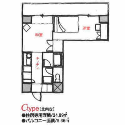 アローンズ大阪-Cタイプ(間取り)