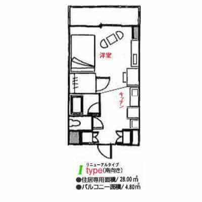 アローンズ大阪-Iタイプ(間取り)