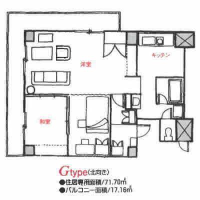 アローンズ大阪-Gタイプ(間取り)